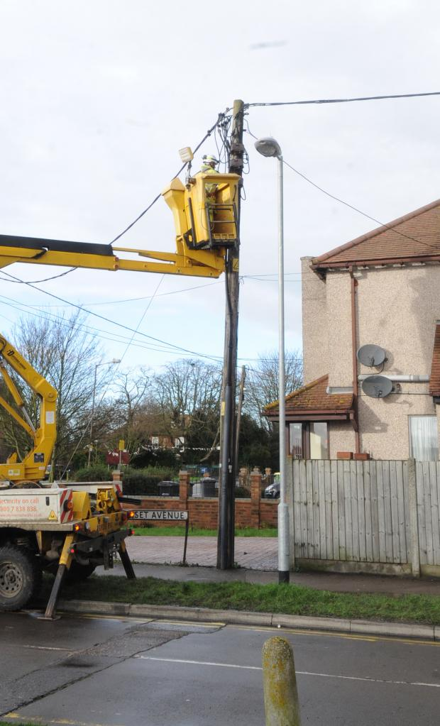 Southend Standard: Workmen repairing the damage the next day