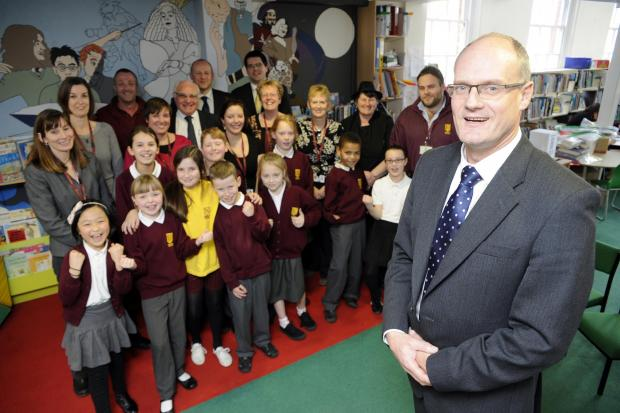 Celebrating – Hamstel head Rupert Snow, foreground, pupils, staff and councillor James Courtenay