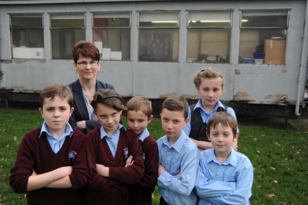 Headteacher Ann Robinson with Buttsbury Junior School pupils