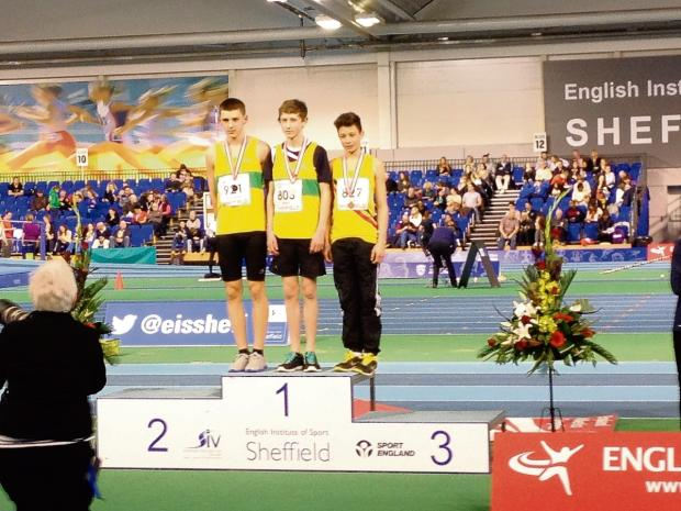 Southend Standard: Robert Runciman, left, next to team-mate Thomas Hewes on the podium in Sheffield