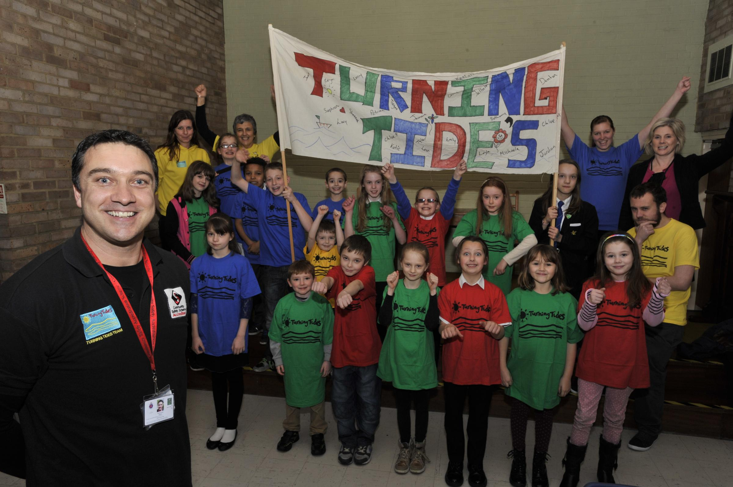 At risk - Turning Tides manager Anthony Quinn with youngsters from one of the youth groups