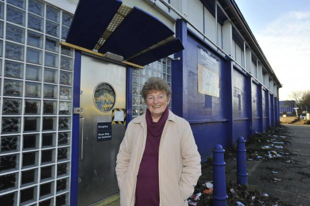 Store supporter - former Southend mayor Nora Goodman outside the disused Safestore building