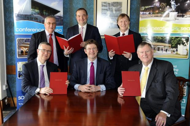 Signing - back (l-r) Cllr John Lamb and MPs James Duddridge and David Amess, front (l-r) council leader Nigel Holdcroft, cities minister Greg Clarke, South East LEP chairman Peter Jones