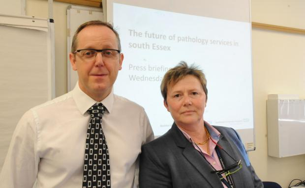 Mark Magrath, of Basildon Hospital, and Southend's head of pathology operations, Debbie Packwood
