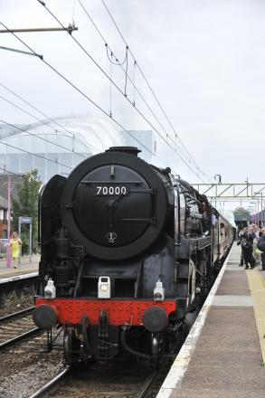 Train: A steam train on a previous journey through Southend Central stat