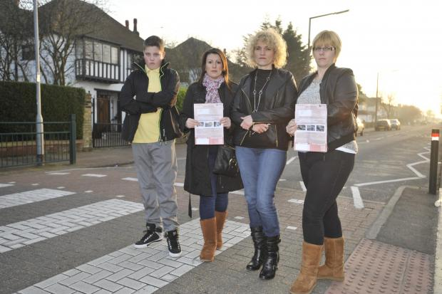 Southend Standard: Cross – pupil Joel Wilkinson with mums Jodie Cook, Cathy Wilkinson and Jayne Millen
