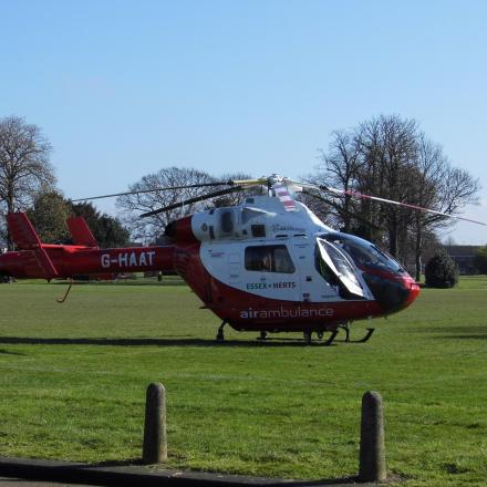 Air Ambulance lands in Bournes Green Park