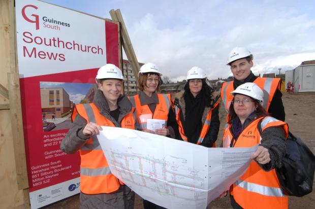 (right to left) Anne Jones, Daniel Baker, Jacqui Lansley, Lesley Salter, and Louise Burdett look at the plans