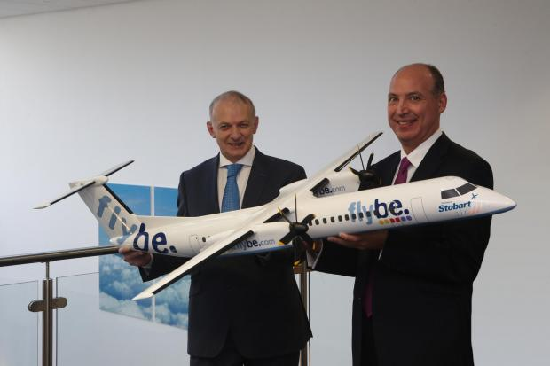 Southend Standard: Takeoff: Stobart chief executive Andrew Tinkler and Flybe chief executive Saad Hammad launch the franchise