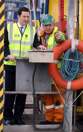 George Osborne at the port earlier this morning
