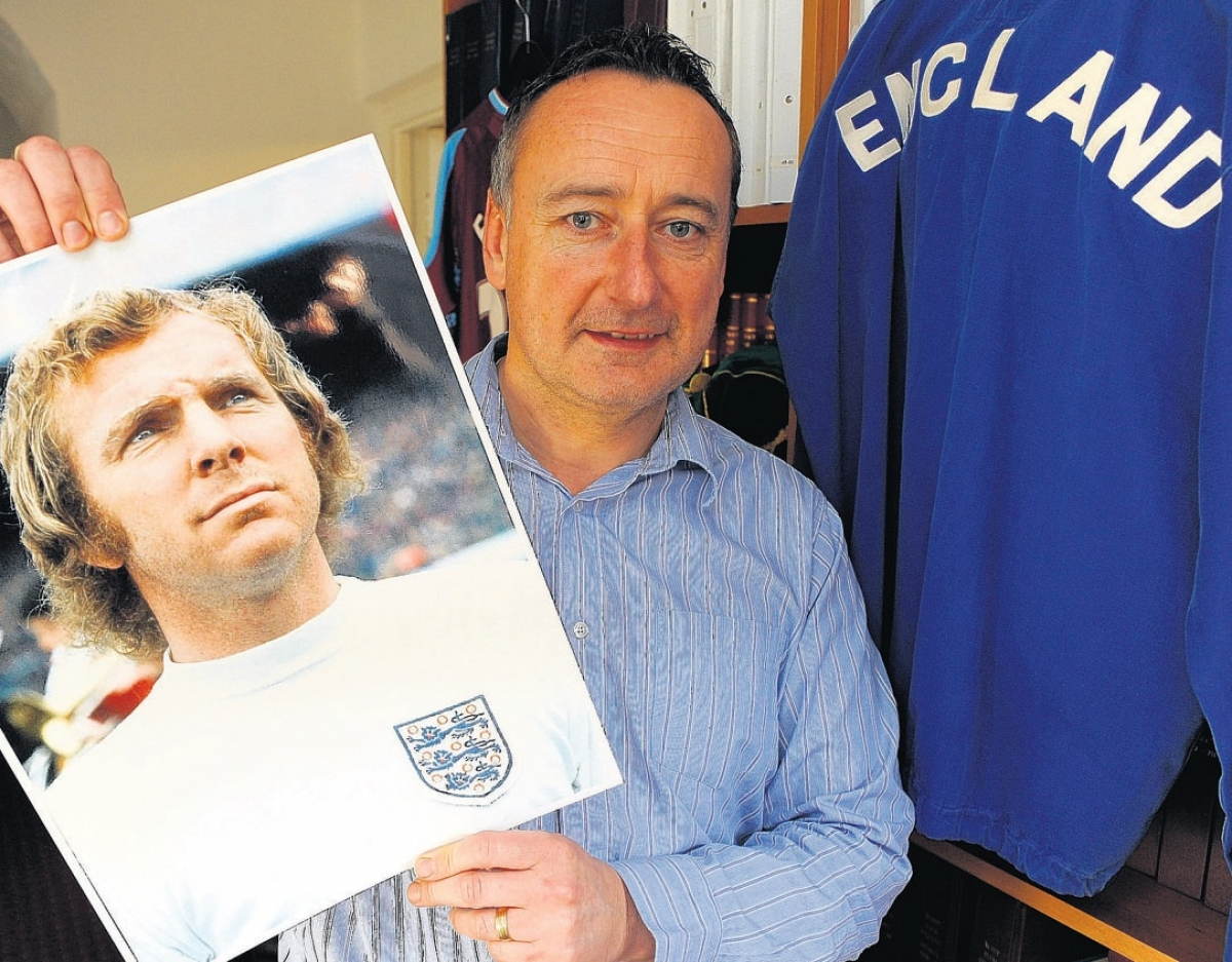 Auction blow – David Alexander with another Bobby Moore item, an England tracksuit top