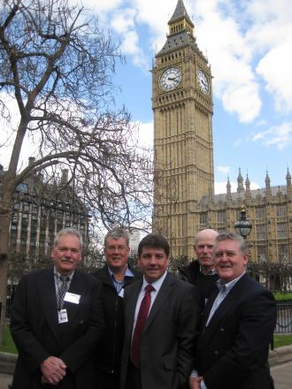 MP Stephen Metcalfe, centre, is delighted