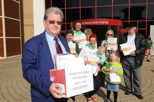 Protesters – Mike Andrews and supporters arrive at the Basildon centre will 1,000 letters of protest against the proposed development