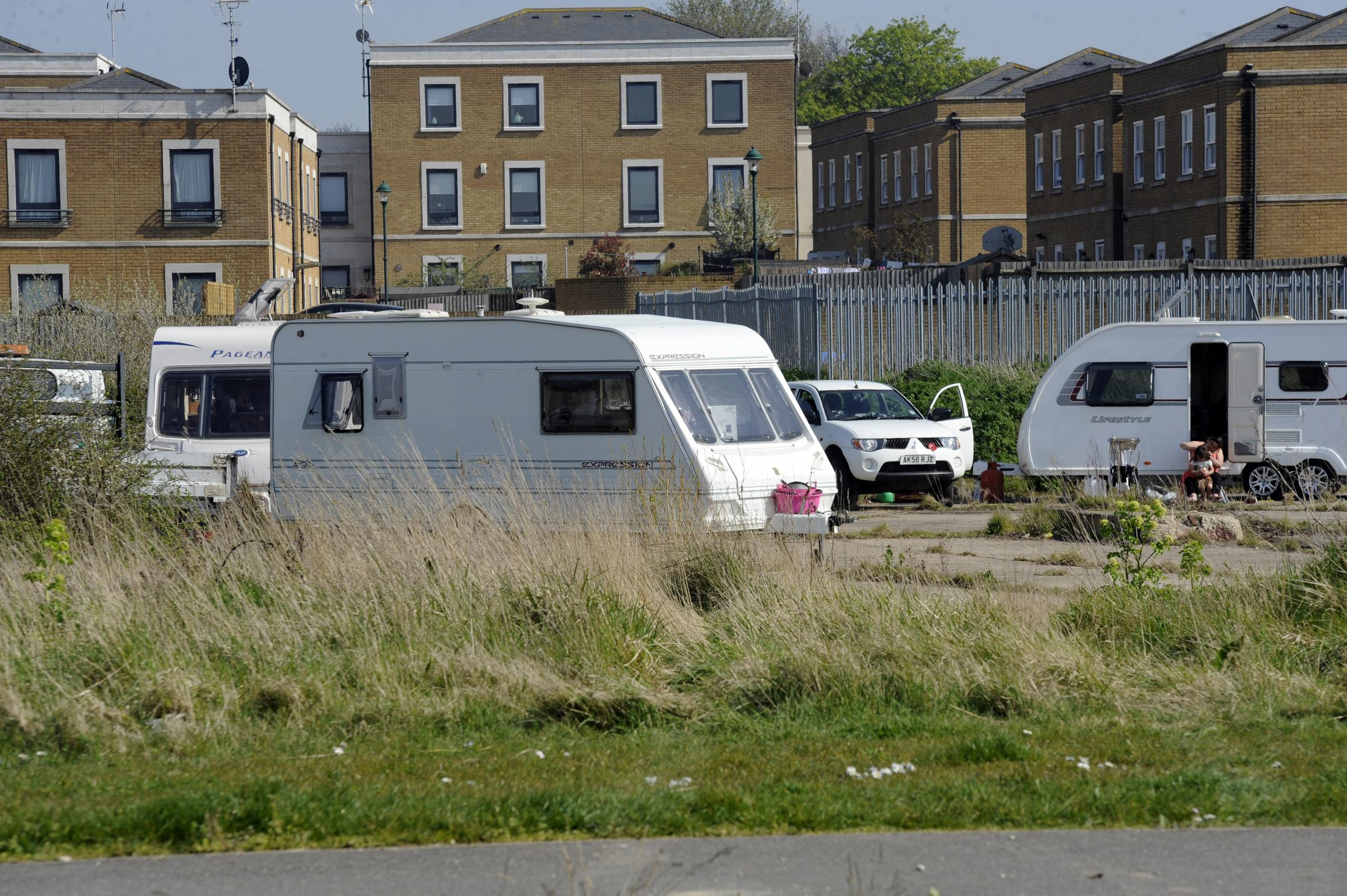 Arrivals - four traveller caravans have parked in Shoebury