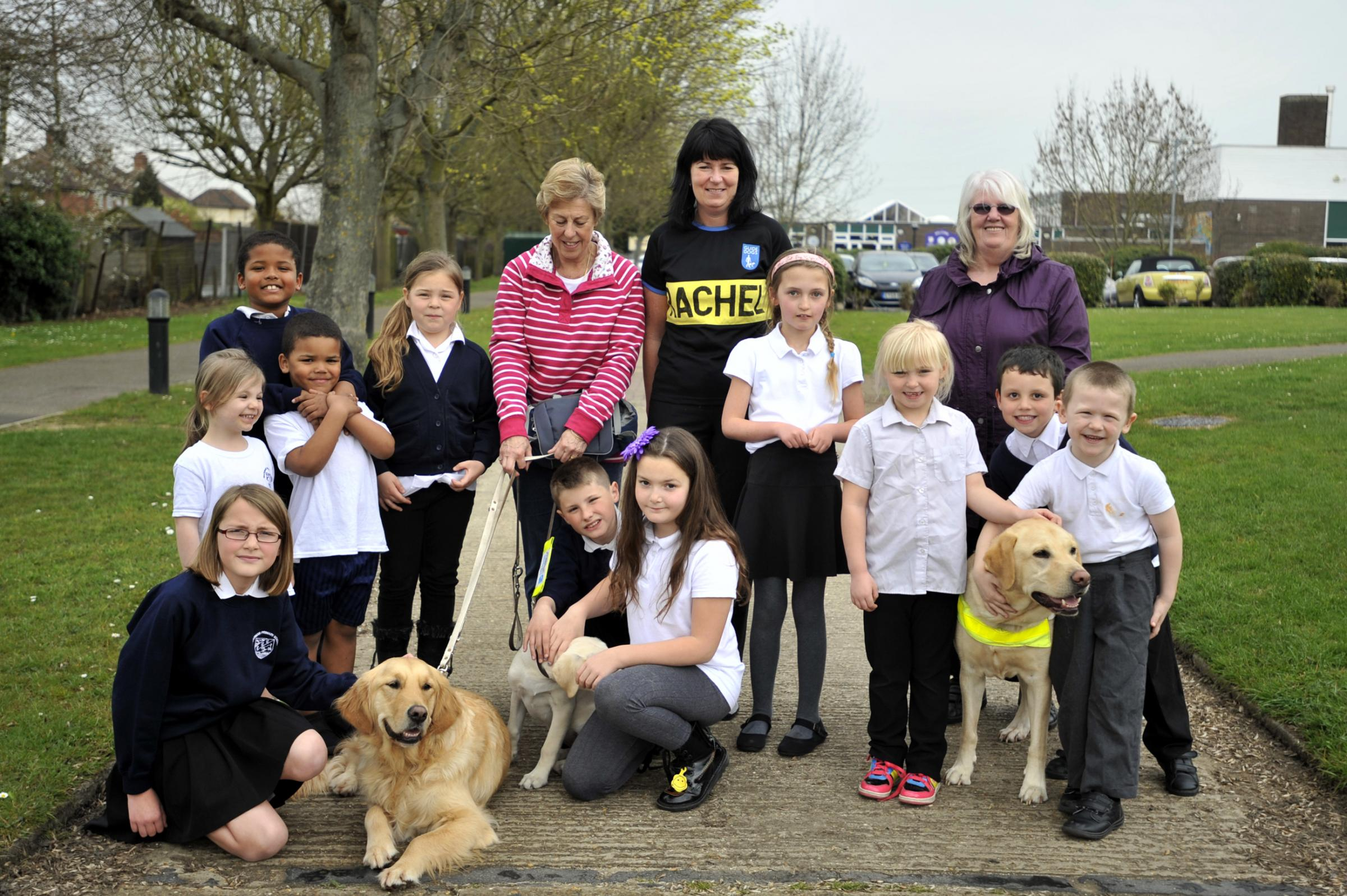 Special help – Rachel Welch with Chris Dunn, pupils, guide dogs and supporters