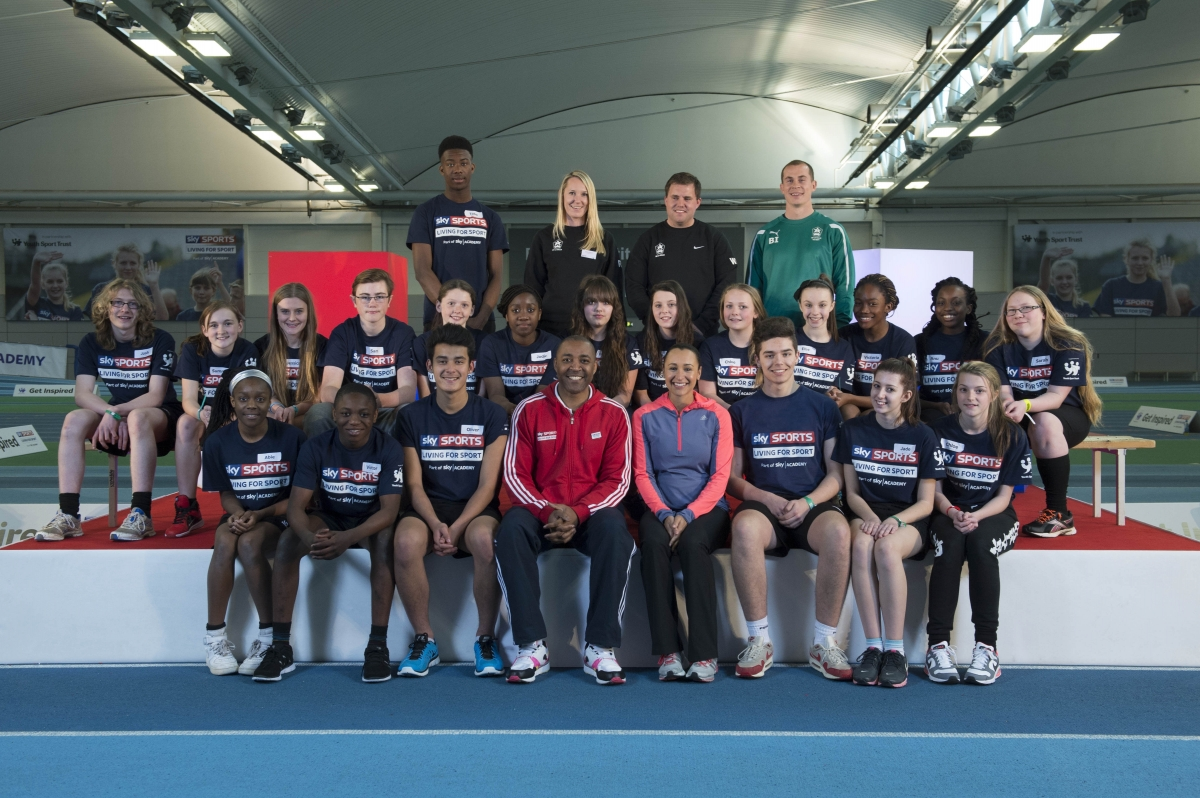 Pupils line up with Jessica Ennis and Darren Campbell