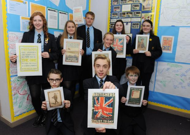 Your country needs you – Deanes pupils with enlistment posters for the First World War