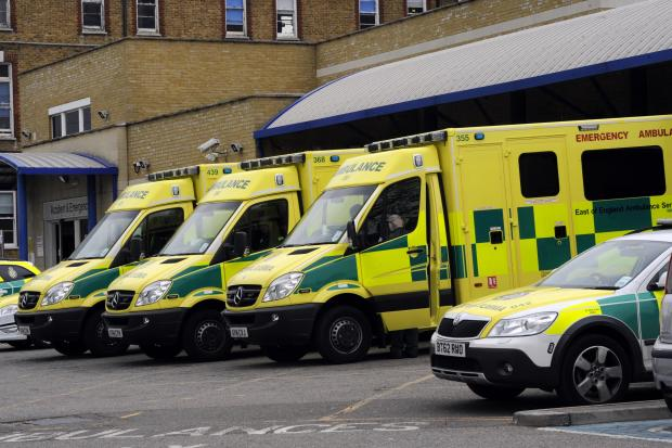 A&E crisis - ambulances line up outside Southend Hospital