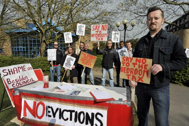 Southend Standard: Dave Murray with residents of the 'Residents Against the Bedroom Tax' campaign group