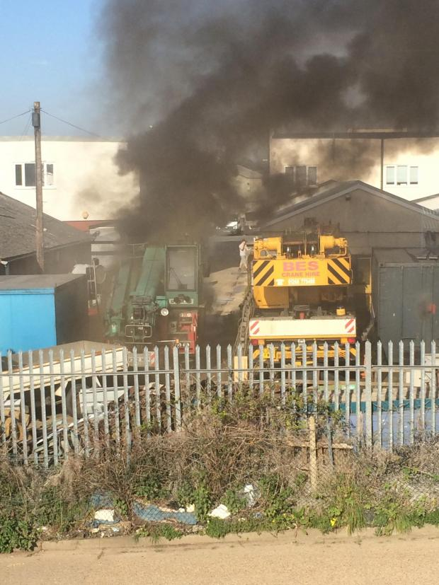 Southend Standard: Crane fire at Brook Road estate in Rayleigh