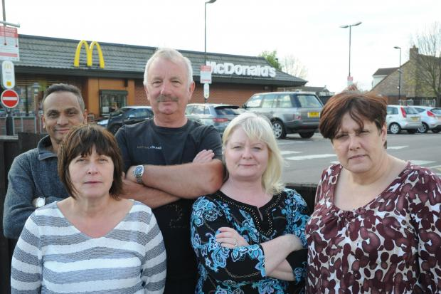 United in opposition – neighbours of McDonald'sMukesh Patel, Karen Lowe, Ian Lowe, Vivienne Chapman and Tina Tait