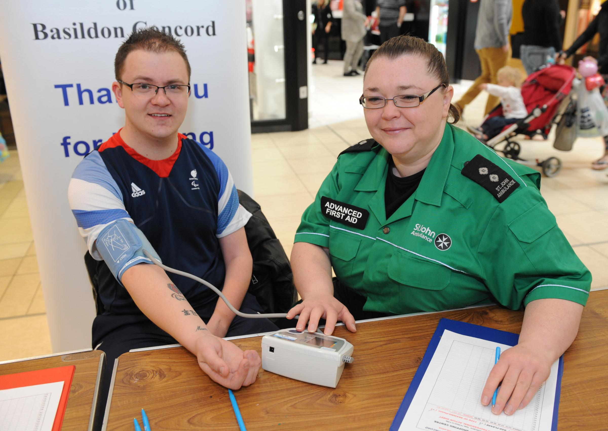 Blood pressure check – Adam with nurse Gill Wilder