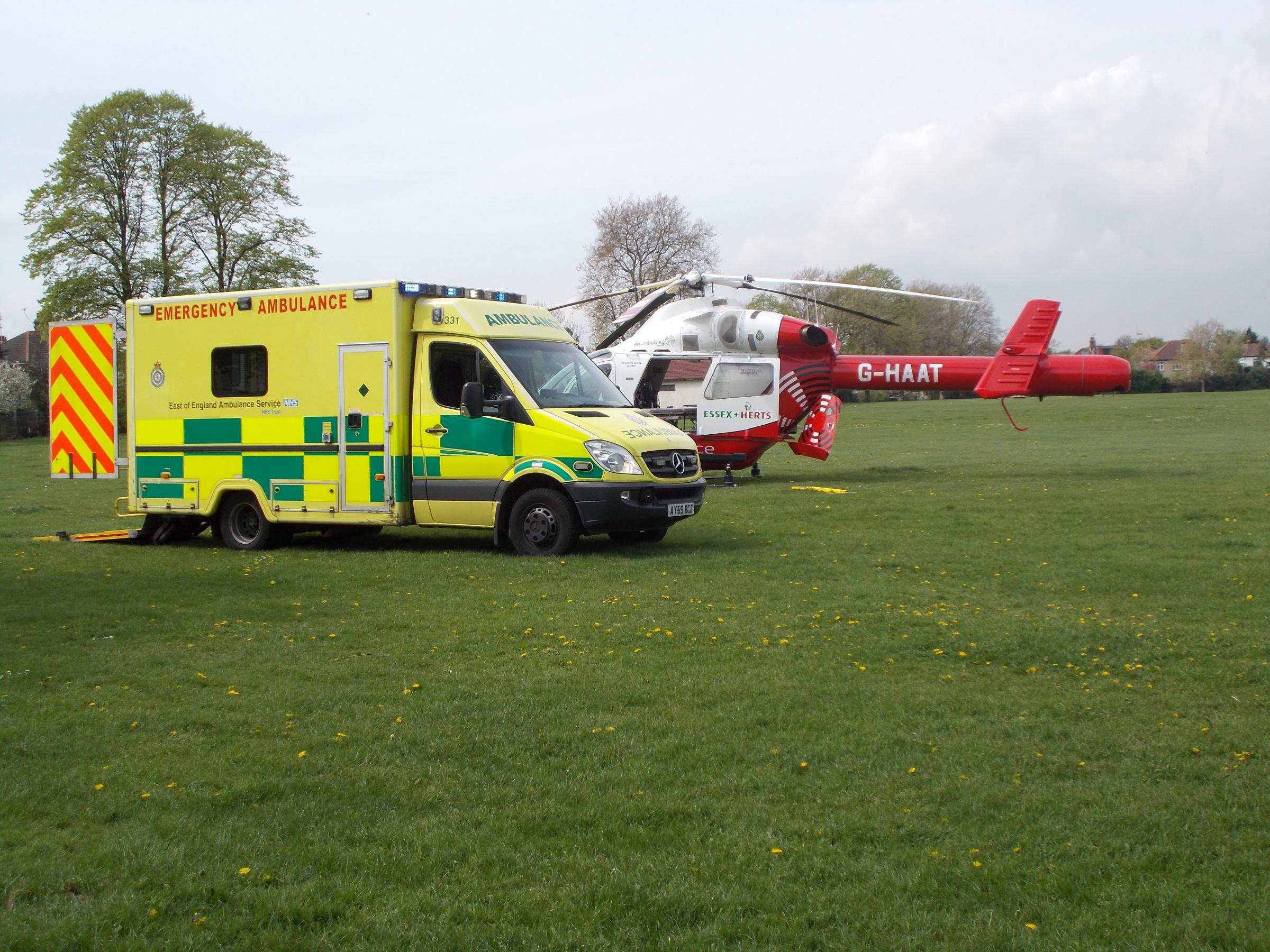 The man was loaded onto the air ambulance in Victory Park