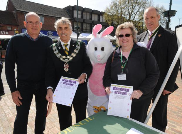 Teamwork - Martin Hodson, Ian Ward, Cheryl Roe and Eddie Dray with the Easter Bunny at the team's Easter Egg Hunt