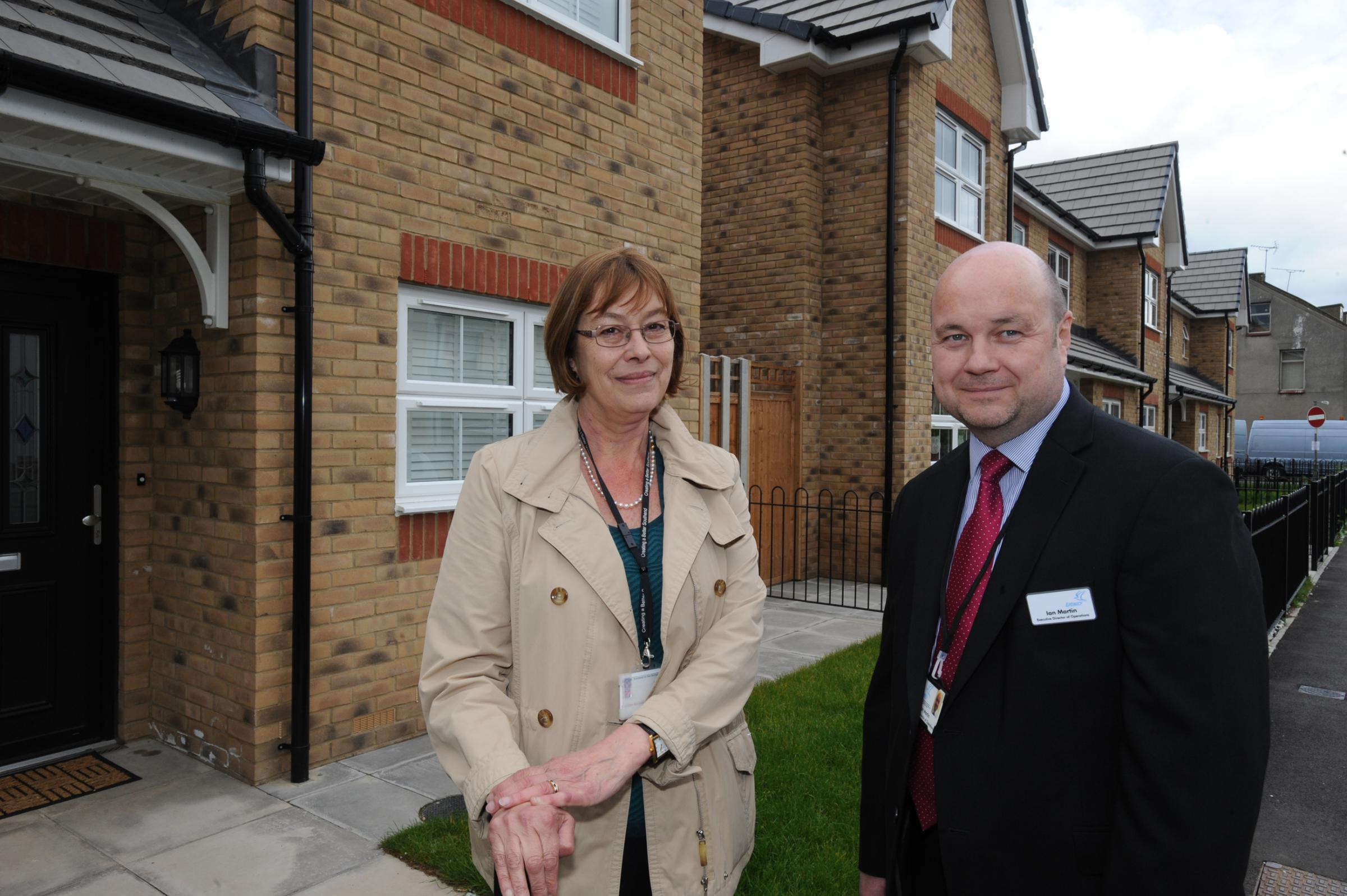 Lesley Salter, Southend councillor responsible for housing, and Ian Martin, executive director of operations of Estuary housing, outside the housing association's new development in Milton Road, Wescliff