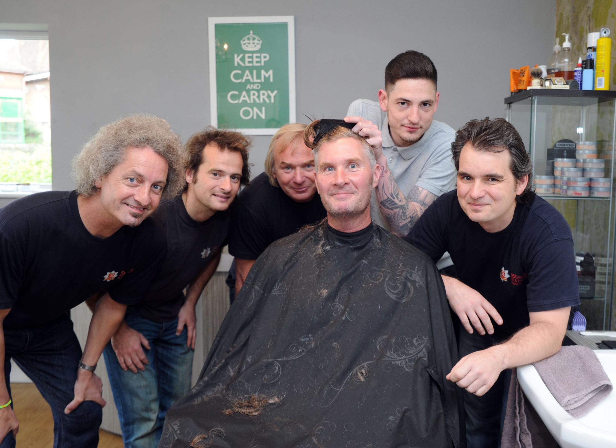 Hair today – from left, Allan Weidner, Rob Tubb, Dave Allen, Chris Seal, Kieron Bailhan