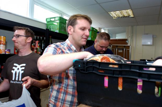 Southend Standard: Handing out food – Colin Black, John Williams and Nick Patterson at Storehouse
