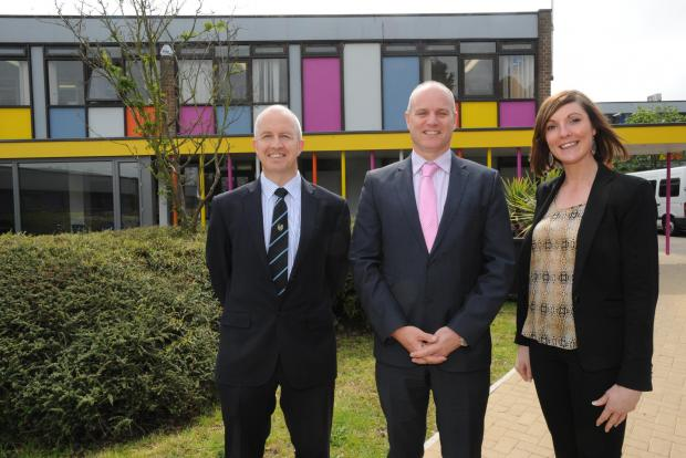 New headteacher Stuart Reynolds, centre, with deputies Ray Lawrence and Tabitha Hudson