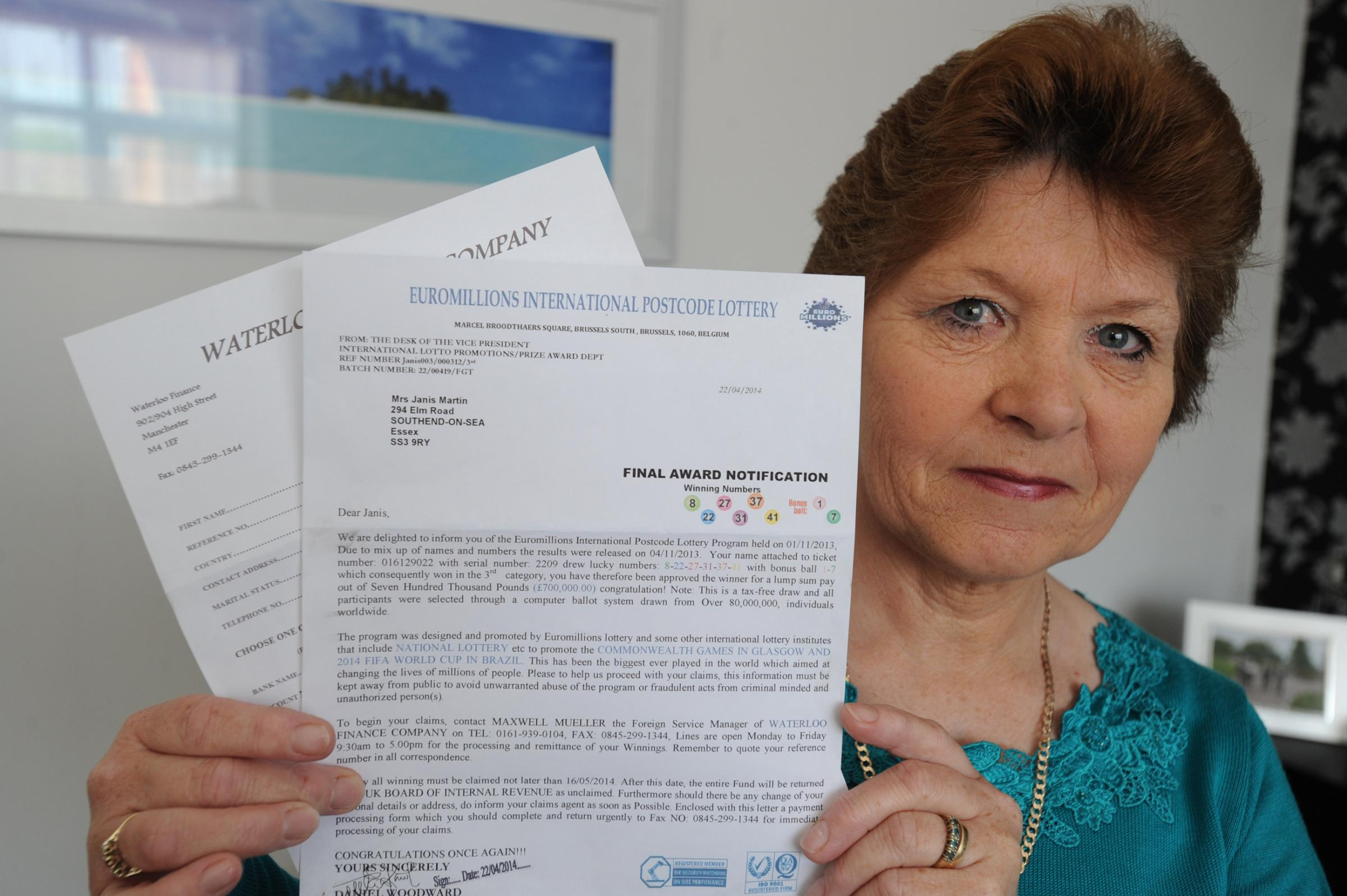 Janis Martin with the scam letter