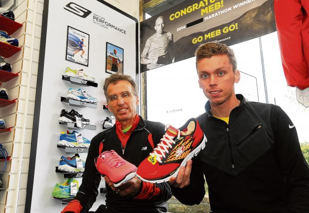 Southend Standard: Mike and Paul Whittaker with the Skechers trainers