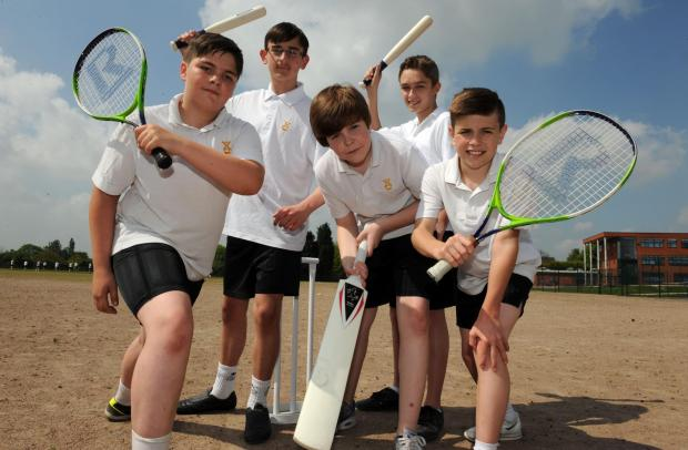 Keen to get new pitch – Year 8 pupils Joe Morgan, Adam Waldie, Thomas Kelly, Daniel Evans and Adam Butcher