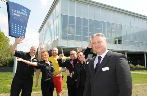 Southend Standard: Great success – Greg Barsby Sporting Village manager, right, with staff Garry Firth, Lacey Hall, Gordon Searle, Lasha Lloyd and Tom Fletcher