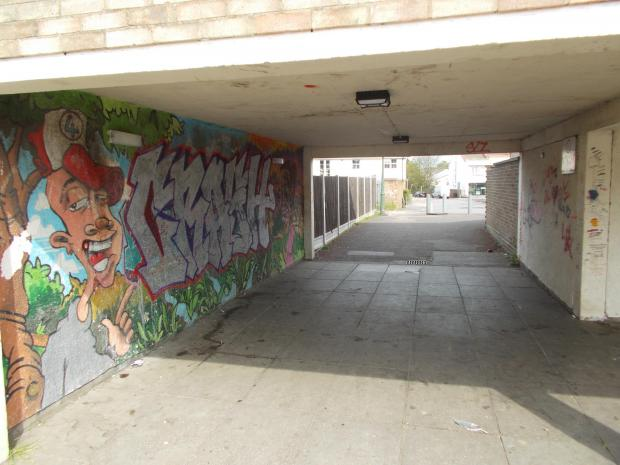 Four Rivers estate – scenes of the area include graffiti, broken fences and damaged garage doors