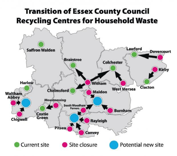 Waste map – a graphic shows the possible future shape of recycling in Essex