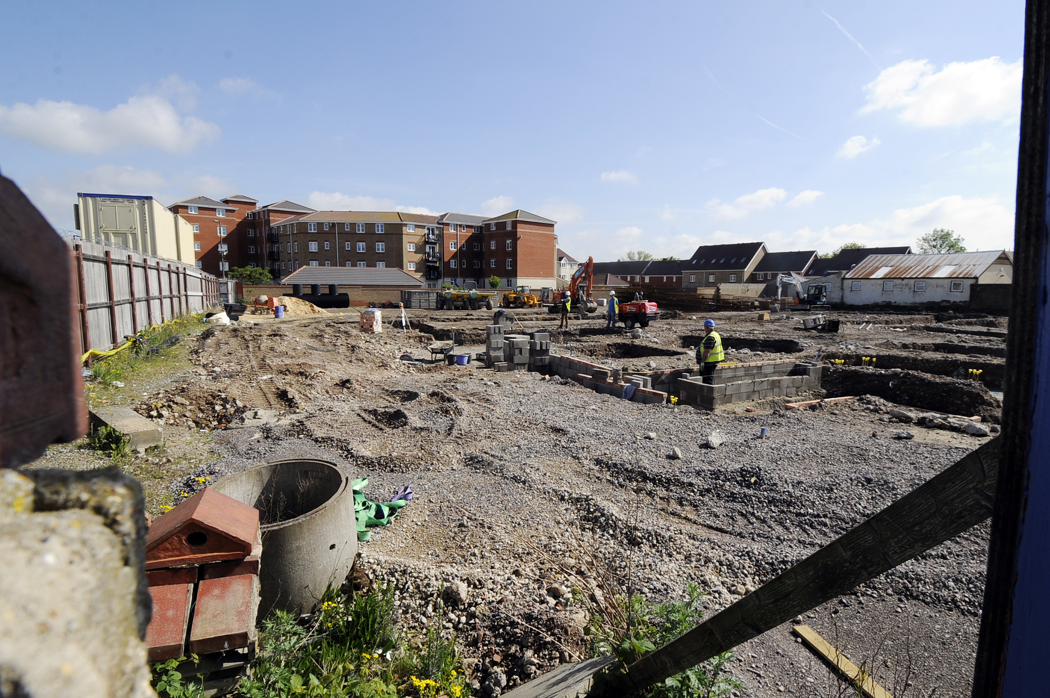 Under way – workmen laying foundations for the Premier Inn, on the old gasworks site