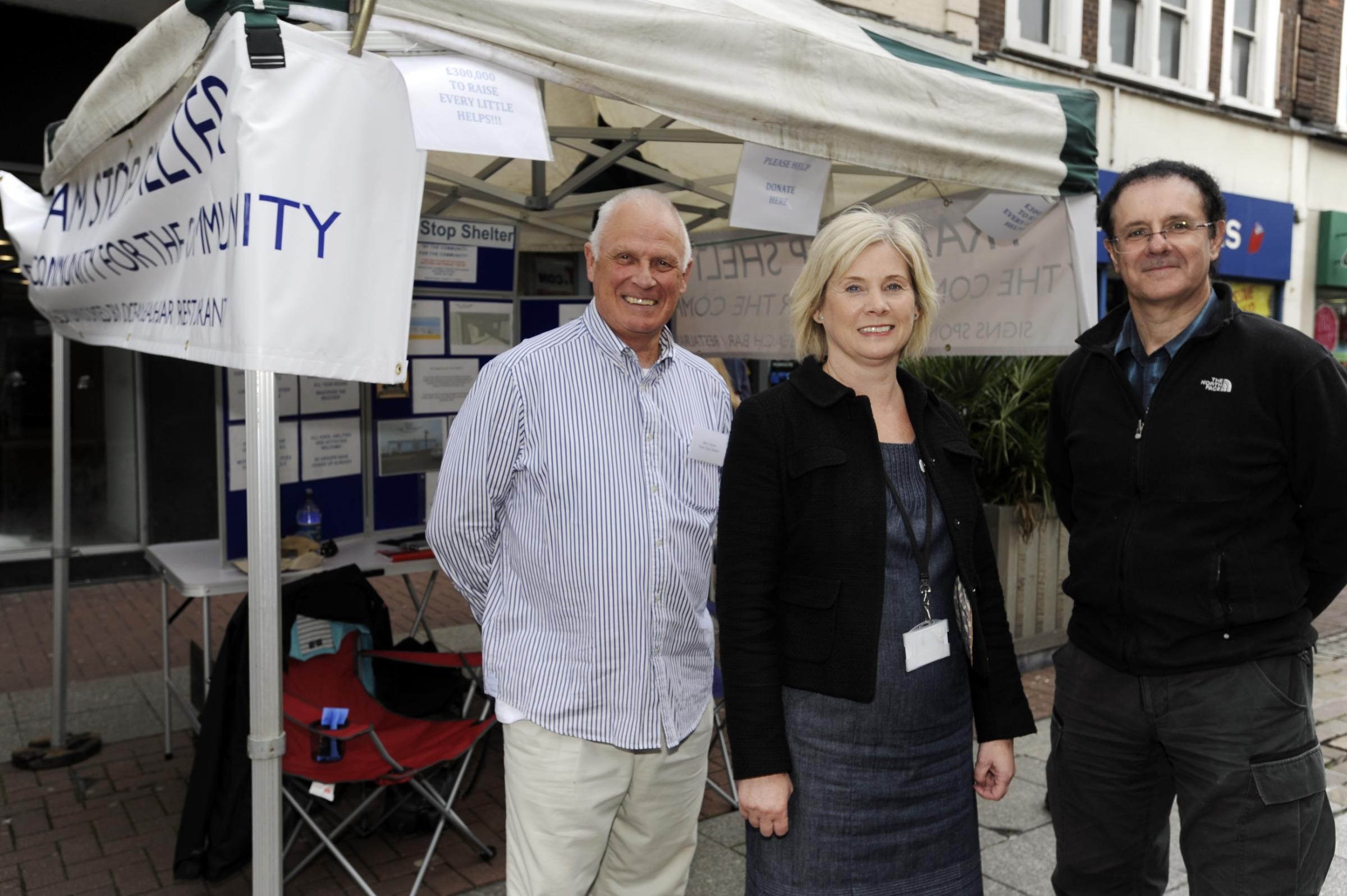 On track – Tram Stop's Bob Craven and Frank Summers with Alison Semmence, chief officer at Southend's volunteer centre