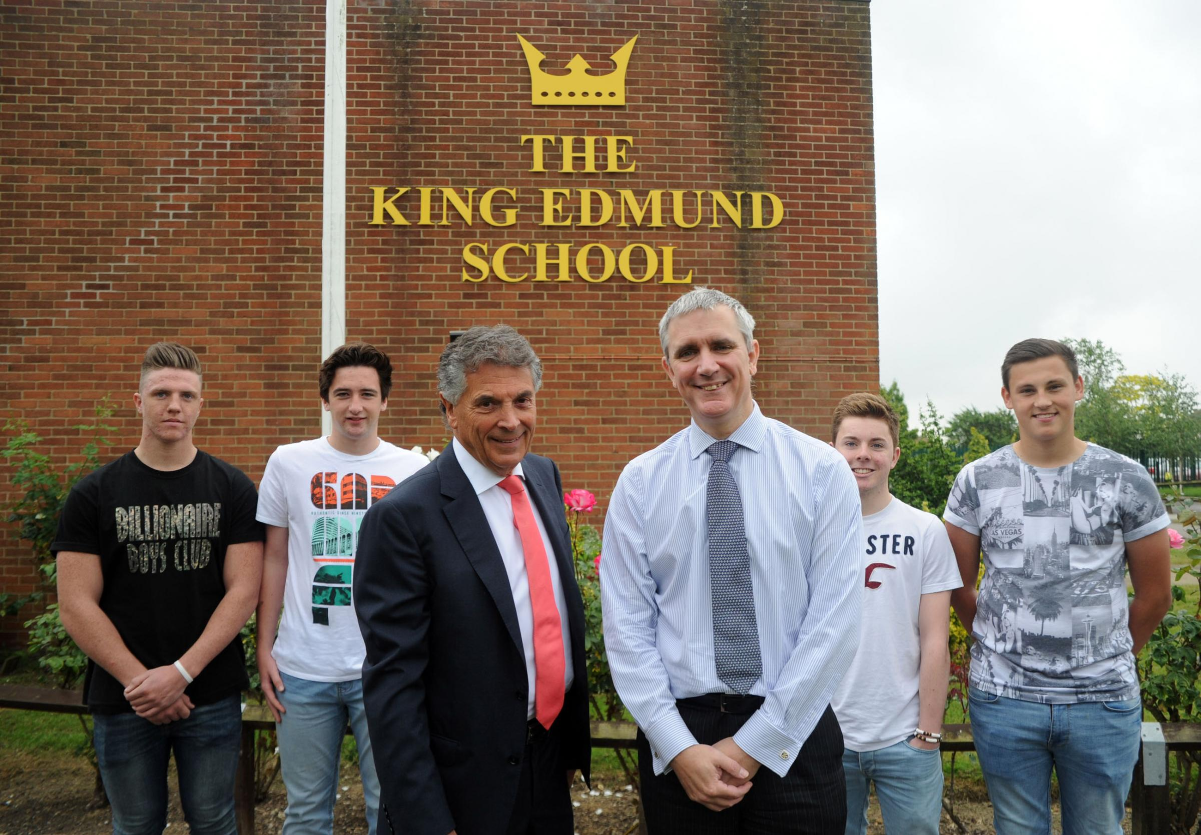 Question time – David Dein, centre left, with headteacher Jonathan Osborn and pupils Harry Heirons, Alex Bailey, Kieran Wilkinson and Ben Cleary