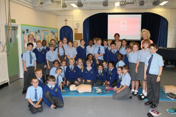 Southend Standard: Chle Battle and Zoe Heath help youngsters learn lifesaving skills
