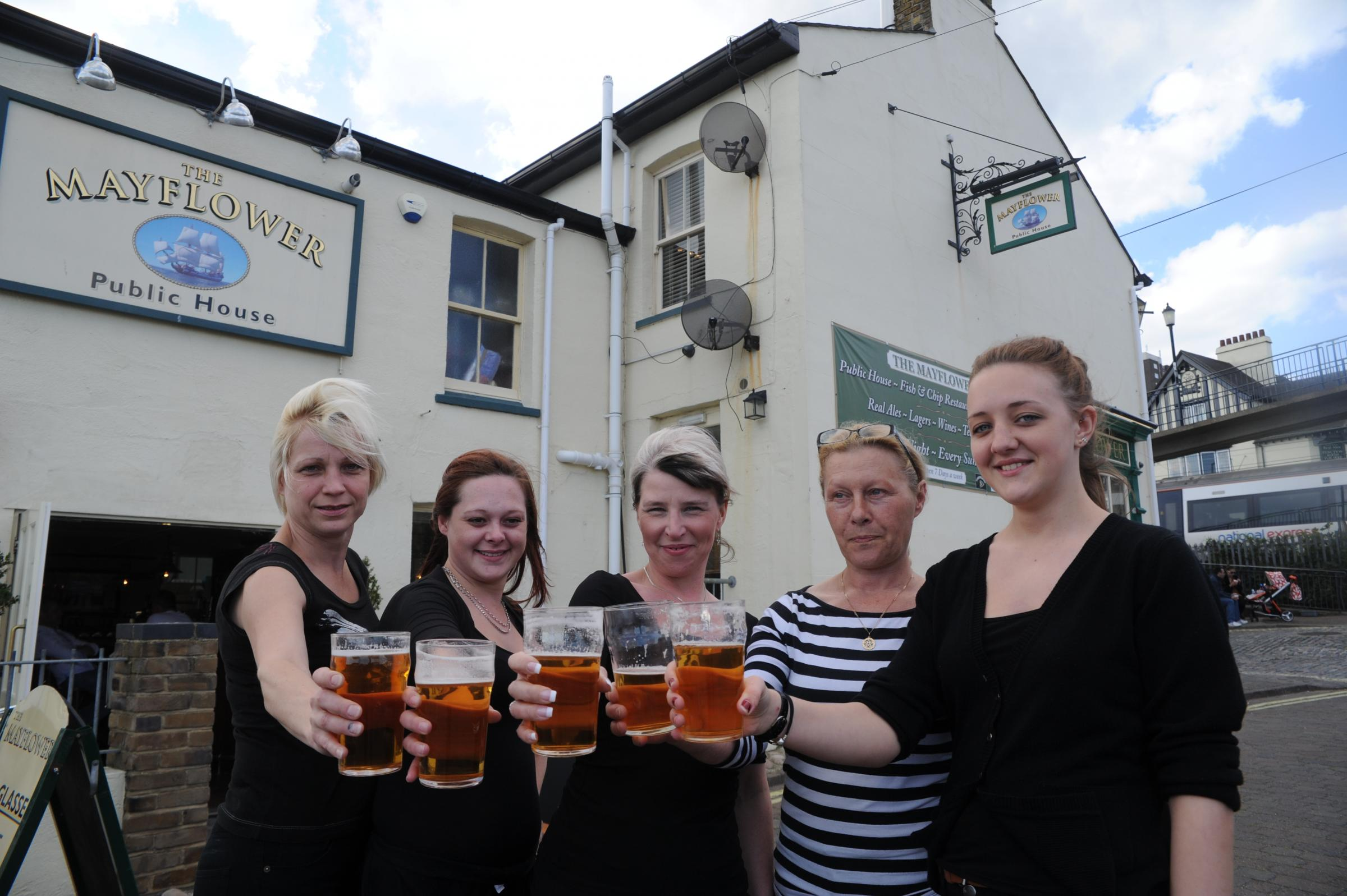 Celebration time – left to right, Tanya Hollington, Amy Fry, Shelly Howlett, Julie Reeves and Suzie Kadur of the Mayflower