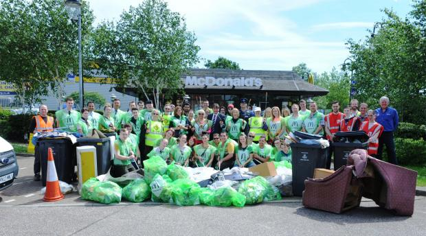 Volunteers in litter pick to clean up town