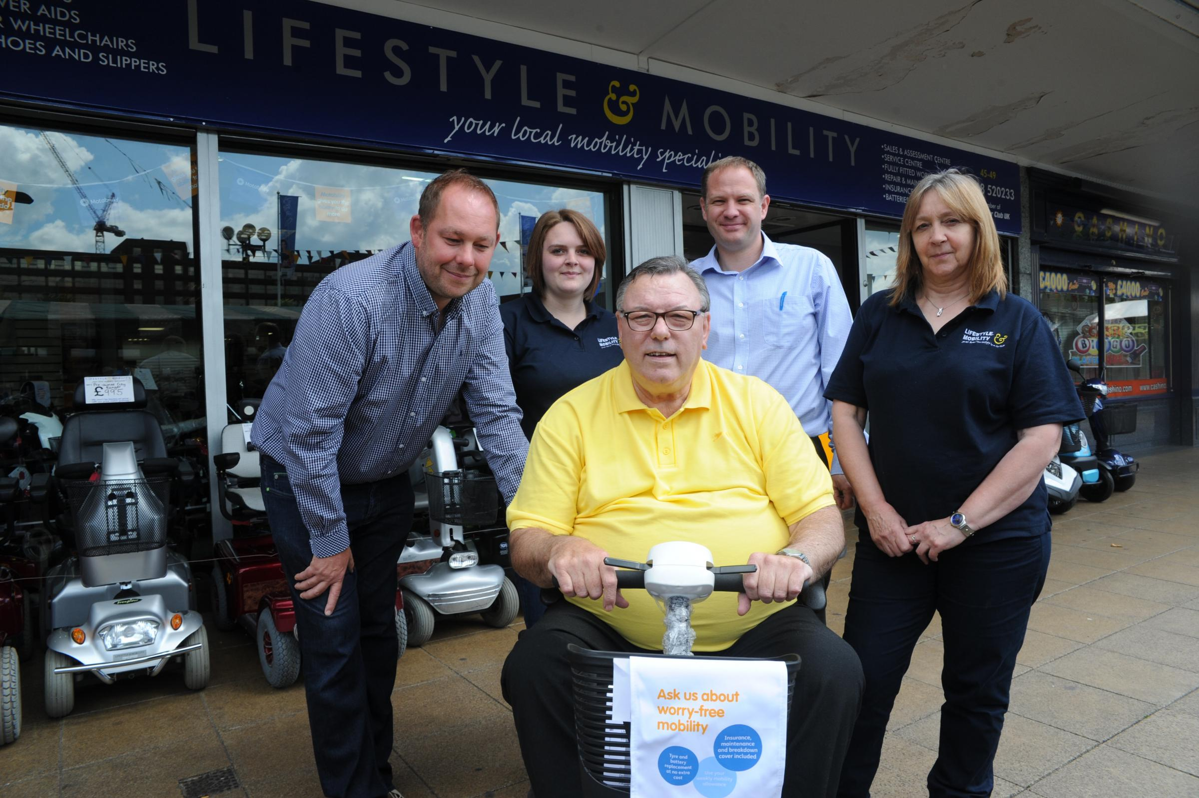 Valuable service – left to right, company director Aaron Sverdloff, sales assistant Emily Parker, customer Stan Shaw, business development manager Simon Greenway, and company secretary Beverley Packer
