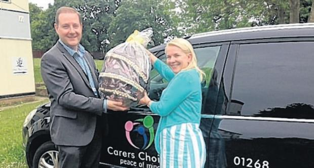 Egg incentive – Paul Ramsden and Carol Bryan of Carers Choices