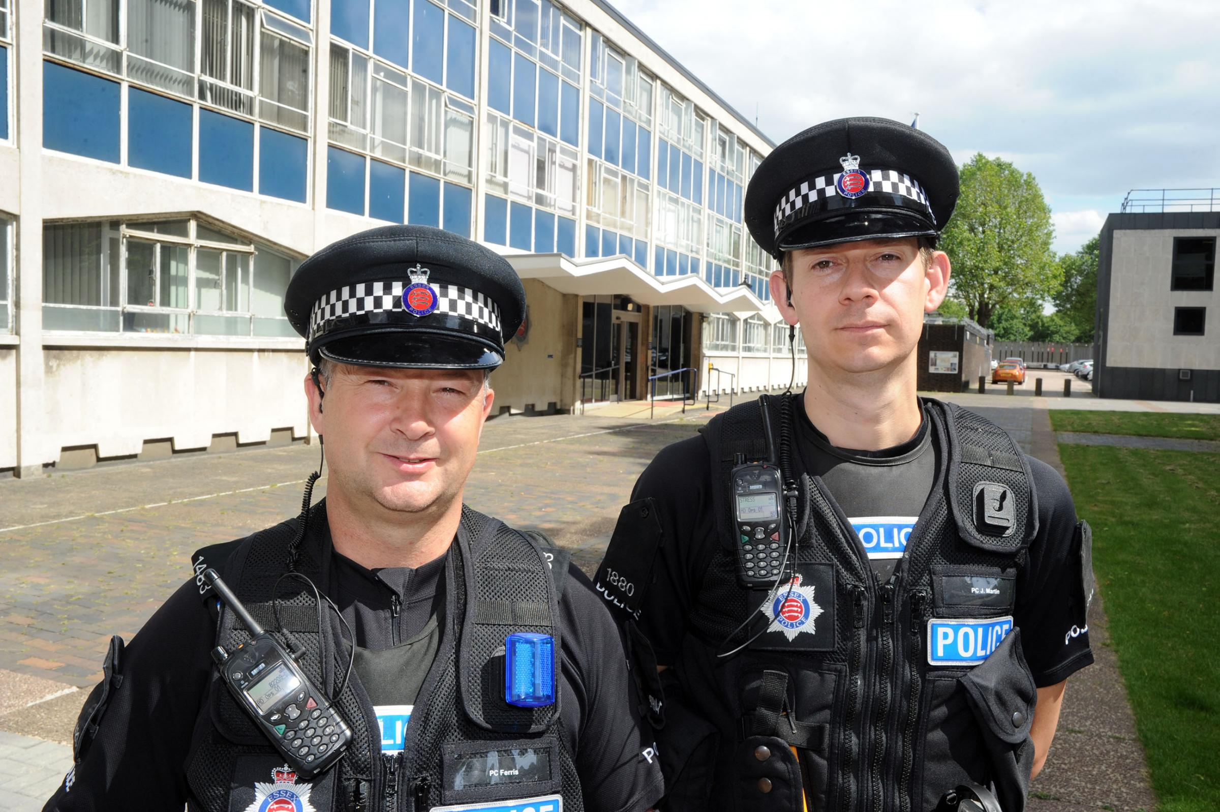 Revamp – officers Stan Ferris and John Martin outside Southend police station