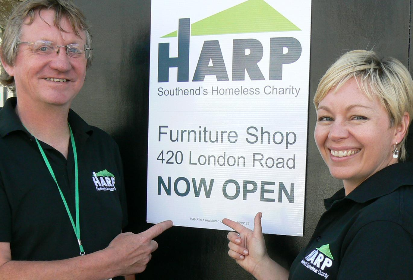 Raising funds – Tony Dunn and Alison Williams of Harp open the new centre