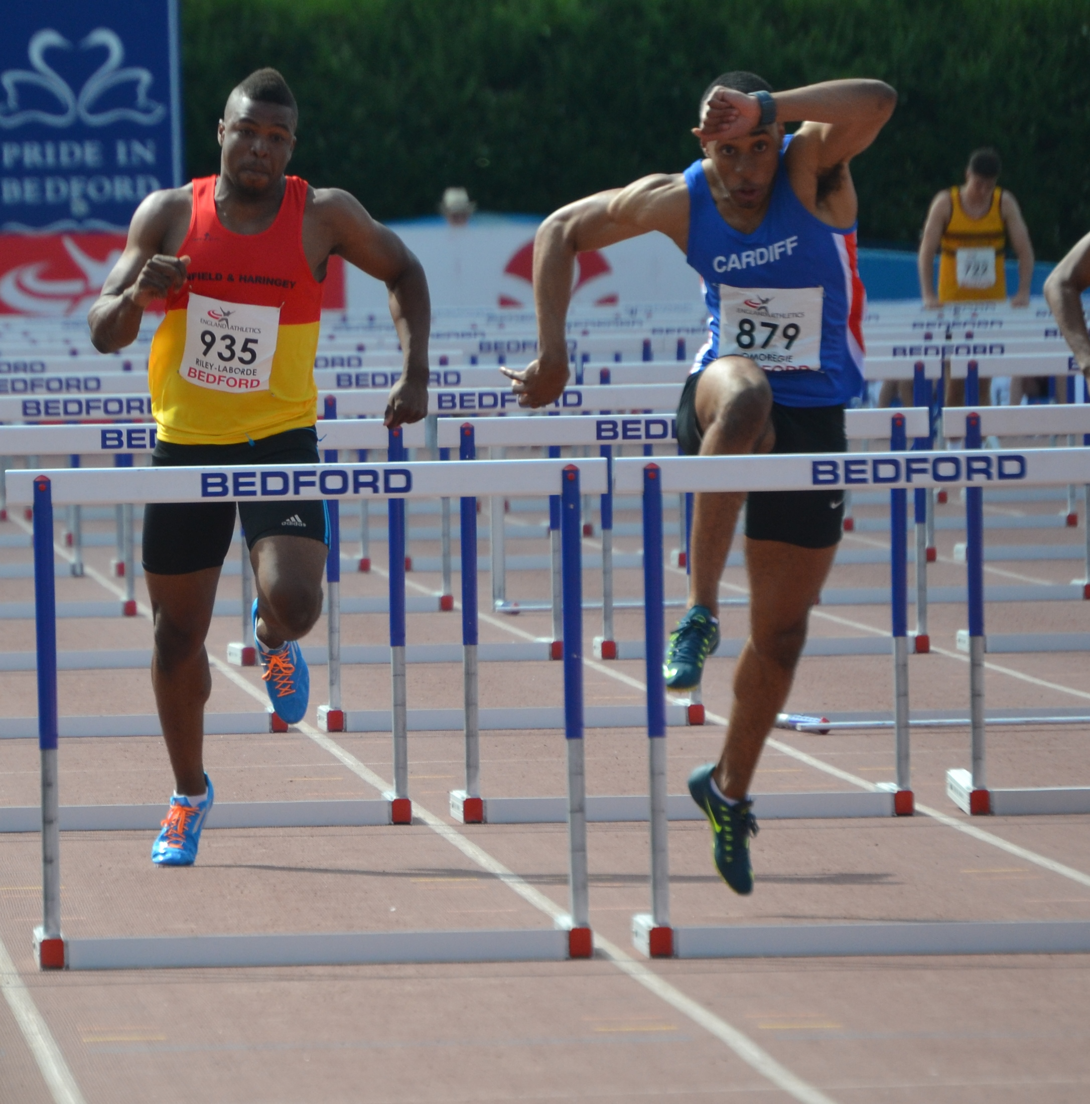 Khai Riley-La Borde and David Omoregie in the under-20 men's 110m hurdles final