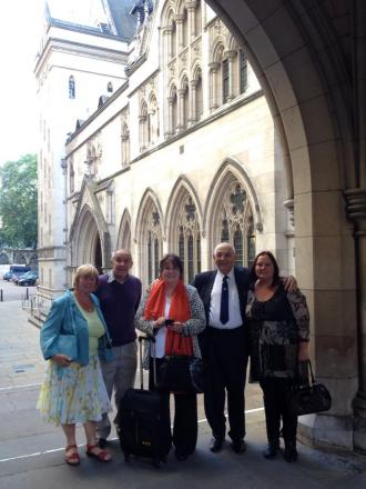 So determined – Linda Kendall, centre, and supporters outside the High Court